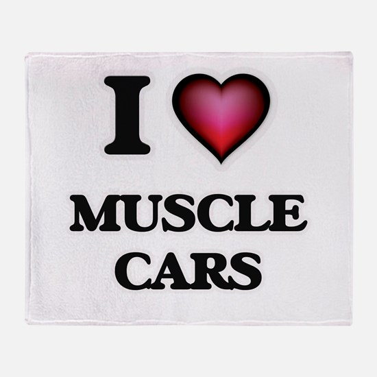I love Muscle Cars Throw Blanket