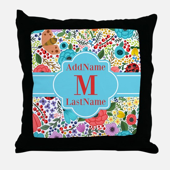 Painted Floral Personalized Monogram Throw Pillow