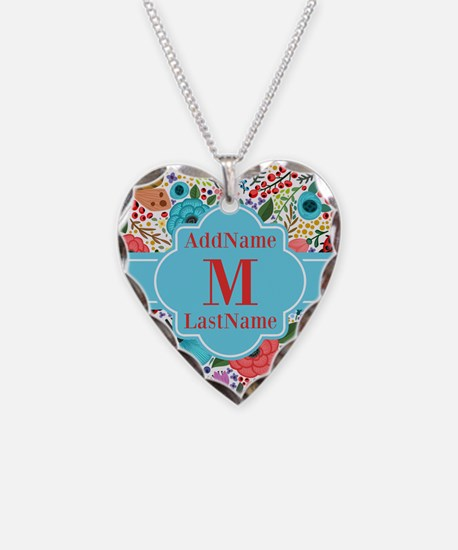 Painted Floral Personalized M Necklace