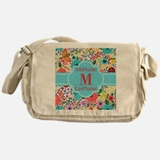 Painted Floral Personalized Monogram Messenger Bag