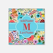 """Painted Floral Personalized Square Sticker 3"""" x 3"""""""