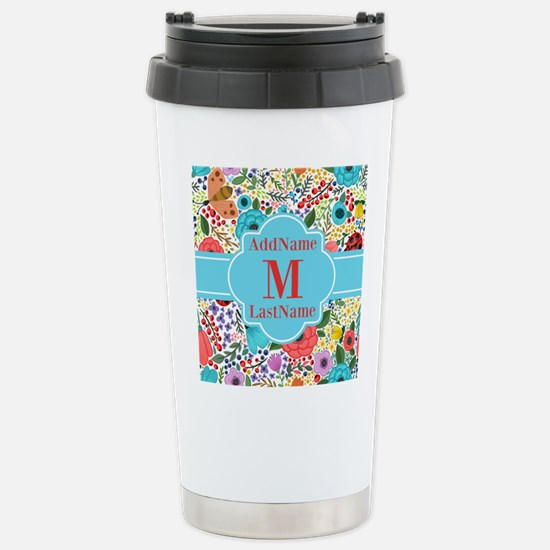 Painted Floral Personal Stainless Steel Travel Mug
