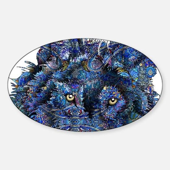 Wild Blue Wolf Sticker (Oval)