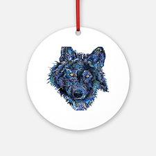 Wild Blue Wolf Round Ornament