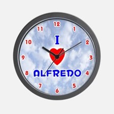 I Love Alfredo (Red/Bl) Valentine Wall Clock