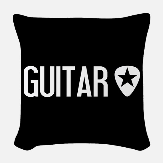 Guitarist: Guitar Pick & Black Woven Throw Pillow