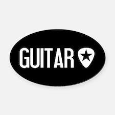 Guitarist: Guitar Pick & Black Sta Oval Car Magnet