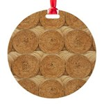 Hay Bale Round Ornament