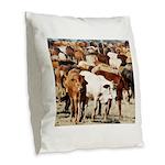 A Herd of Cattle Burlap Throw Pillow