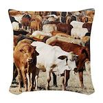 A Herd of Cattle Woven Throw Pillow