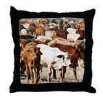 A Herd of Cattle Throw Pillow