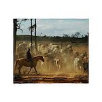 Herding Cattle Throw Blanket