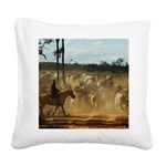 Herding Cattle Square Canvas Pillow