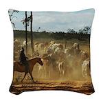 Herding Cattle Woven Throw Pillow