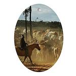 Herding Cattle Oval Ornament