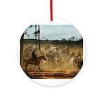 Herding Cattle Round Ornament