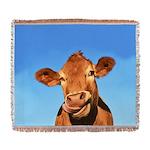 Selfie Cow Woven Blanket