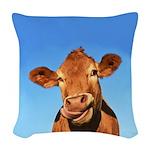 Selfie Cow Woven Throw Pillow
