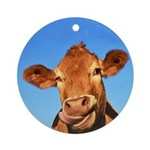 Selfie Cow Round Ornament