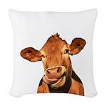 Selfie Cow (Transparent) Woven Throw Pillow
