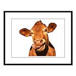 Selfie Cow (Transparent) Large Framed Print