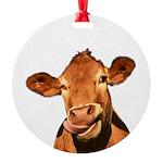 Selfie Cow (Transparent) Round Ornament