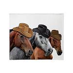 Cowboy Horses Throw Blanket
