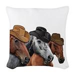 Cowboy Horses Woven Throw Pillow