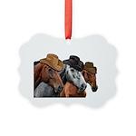 Cowboy Horses Picture Ornament