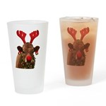 Christmas Cow Drinking Glass