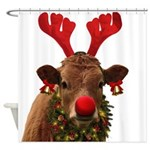 Christmas Cow Shower Curtain