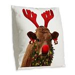 Christmas Cow Burlap Throw Pillow