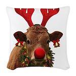 Christmas Cow Woven Throw Pillow