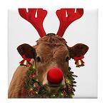 Christmas Cow Tile Coaster