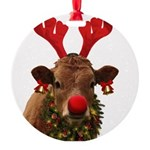 Christmas Cow Round Ornament