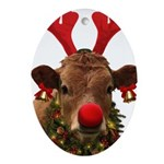 Christmas Cow Oval Ornament