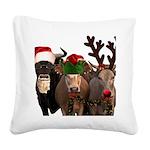 Santa & Friends Square Canvas Pillow