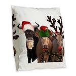 Santa & Friends Burlap Throw Pillow