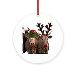 Santa & Friends Round Ornament
