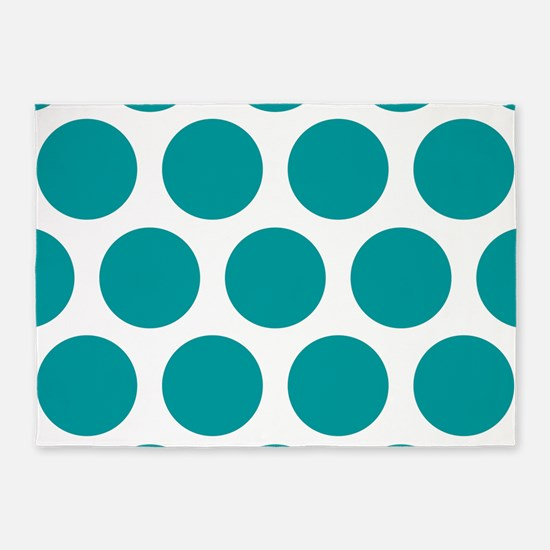 Blue, Teal: Polka Dots Pattern (Lar 5'x7'Area Rug
