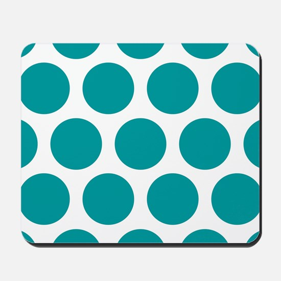 Blue, Teal: Polka Dots Pattern (Large) Mousepad