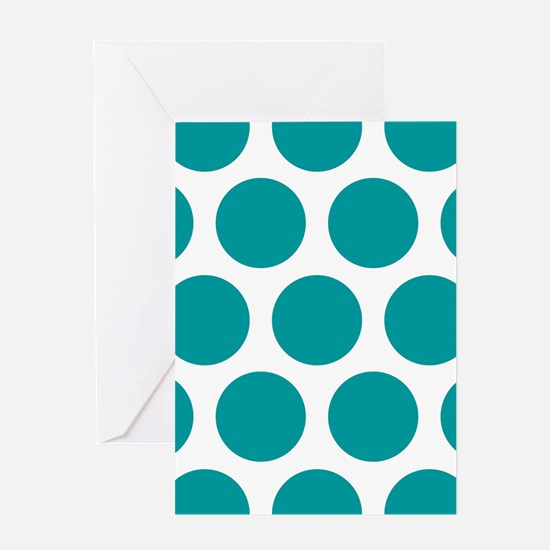 Blue, Teal: Polka Dots Pattern (Larg Greeting Card