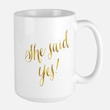 She Said Yes Gold Faux Foil Metallic Glitter Mugs
