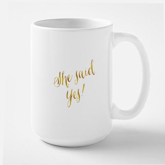 She Said Yes Gold Faux Foil Metallic Glitter Mugs