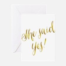 She Said Yes Gold Faux Foil Metalli Greeting Cards