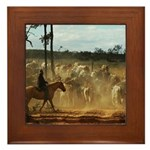 Herding Cattle Framed Tile