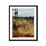 Herding Cattle Framed Panel Print