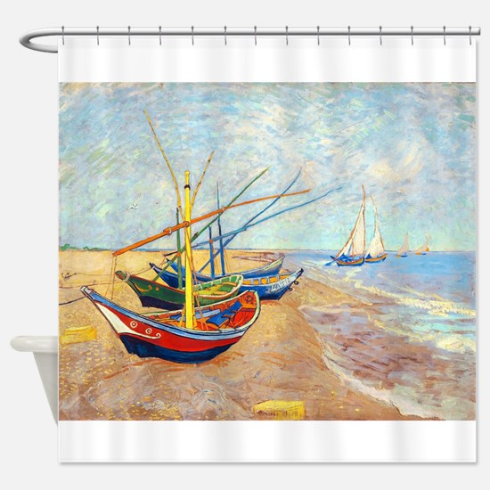 Fishing Boats on the Bea Shower Curtain