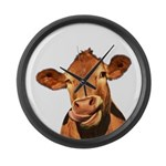 Selfie Cow (Transparent) Large Wall Clock