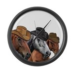 Cowboy Horses Large Wall Clock